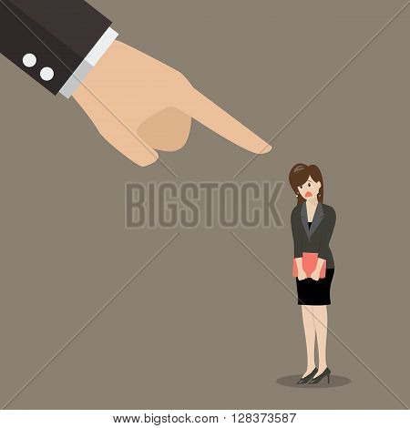 Angry boss being complaining to woman employee. Business concept