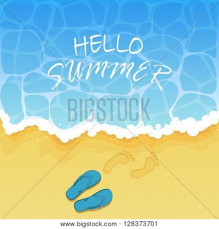 Lettering Hello Summer on water background, ocean waves on a sandy beach with flip flops and footprints, illustration.