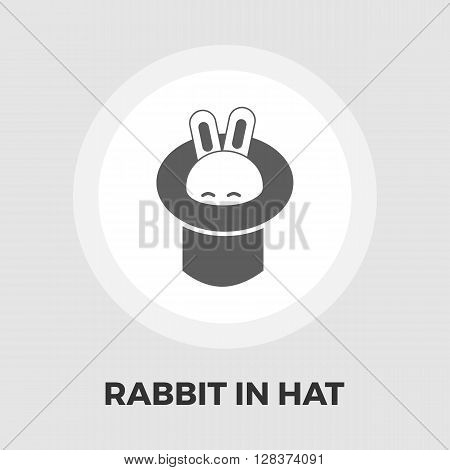 Rabbit in magician hat icon vector. Flat icon isolated on the white background. Editable EPS file. Vector illustration.