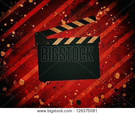 Movie Clapperboard On A Grunge