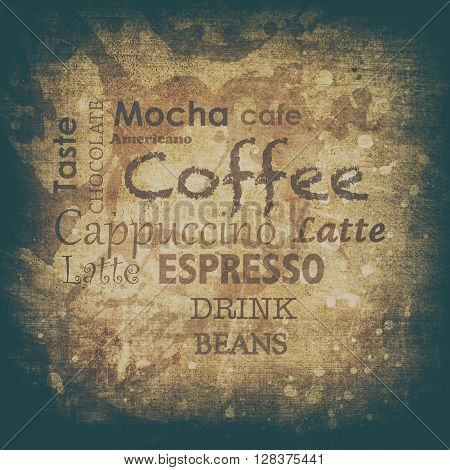 Coffe Text On A Grunge Background