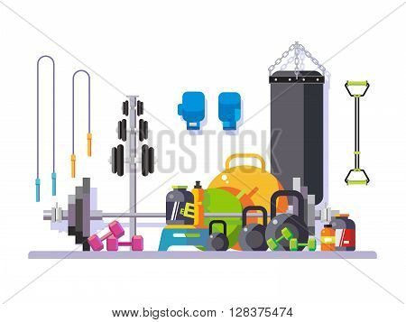 Gym flat style. Kettlebell and punching, bag, fingerboard and bodybuilding, vector illustration