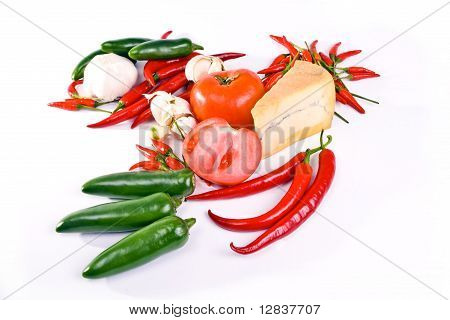 French blue cheese surrounded with  peppers