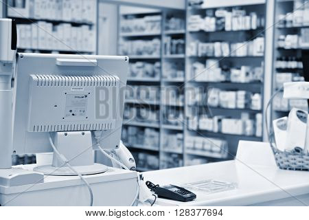 Checkout The Pharmacy. Interior Pharmacies And Blurred Background.