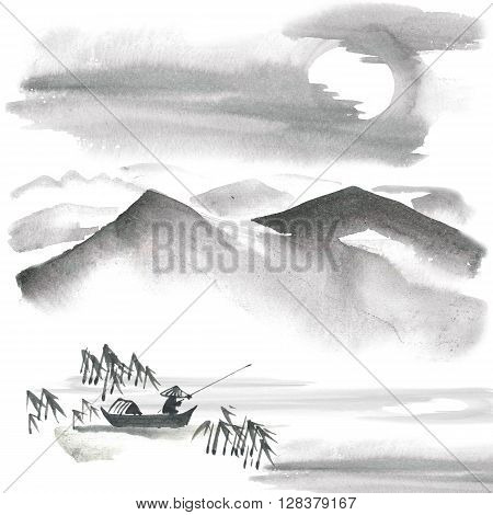 Watercolor and ink painting - chinese fishman bamboo pine trees mountains sky. Sumi-e u-sin gohua painting.