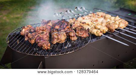 Grilled Pork Kebab On Skewers