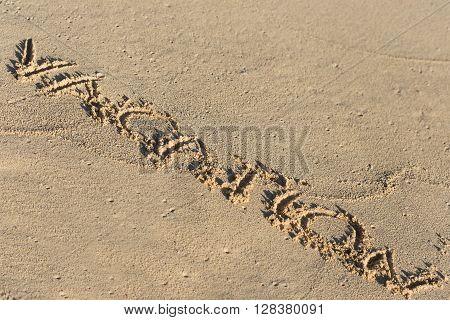 Inscription Vacation On Sandy Beach