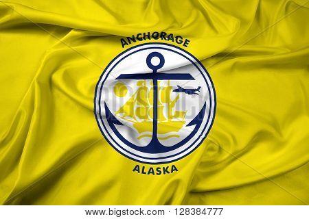 Waving Flag of Anchorage Alaska. Beautiful satin background.
