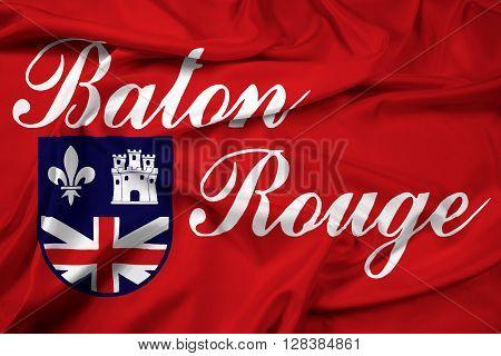 Waving Flag of Baton Rouge Louisiana. Satin background