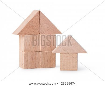 wooden house. Children's toys - wooden cubes on a white background