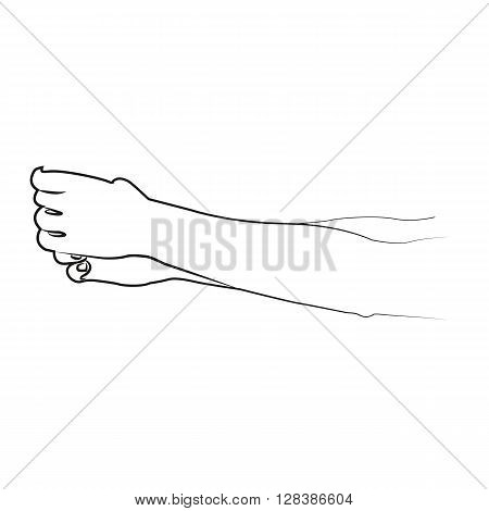 Cartoon hand grabs the man by the neck and strangling.