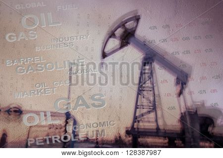 Work of oil pump jack on a oil field and finance analytics background. Textured concrete grunge blurred motion. Numbers figures. Concept oil and gas crisis.
