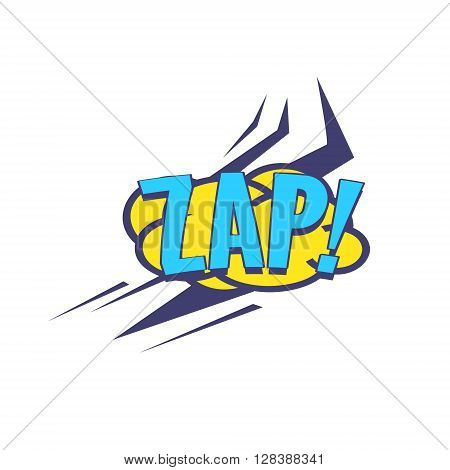 Zap Comic Speech Bubble Bright Color Classic Comic Book Style Flat Vector Design Sticker