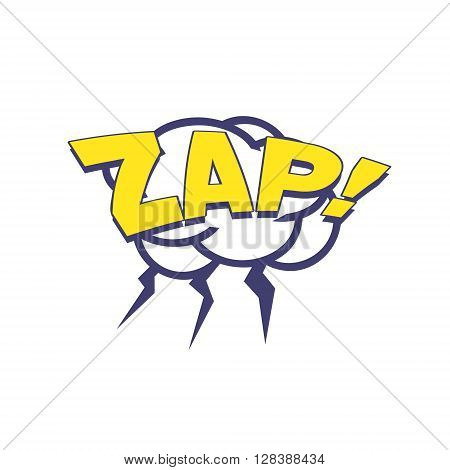 Zap With Lightnings Comic Speech Bubble Bright Color Classic Comic Book Style Flat Vector Design Sticker