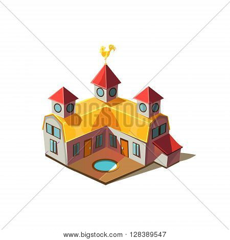 Rancho House Simplified Cute Illustration In Childish Colorful Flat Vector Design Isolated On White Background