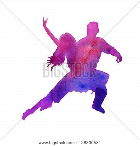 silhouettes of dancing Argentine tango men and women. isolated. Watercolor