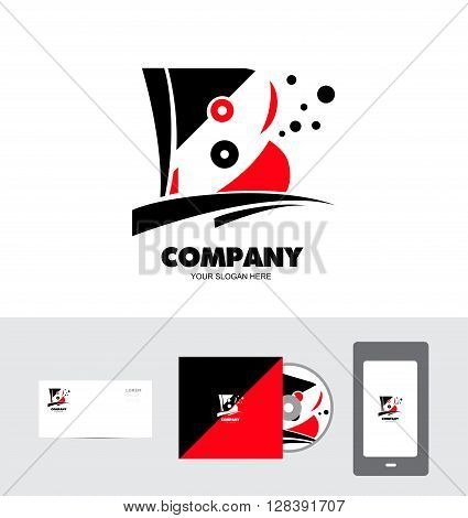 Vector company business card cd cover logo icon element template alphabet letter b red black