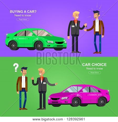design concept of choice and buying a car. Vector detailed character buyer and seller, cool flat  illustration. Web banner template