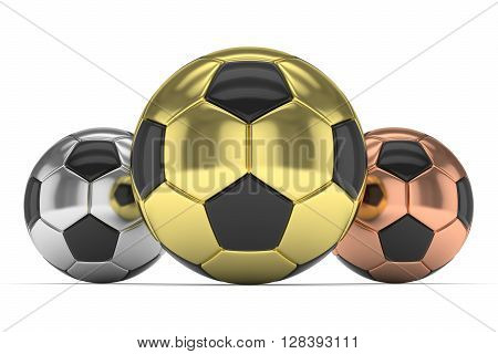 Three gloss soccer balls on white background. 3D rendering.