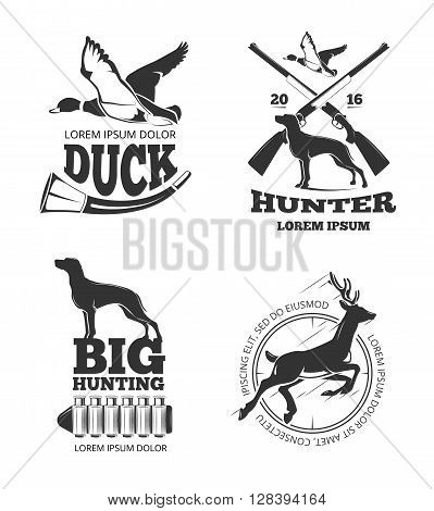 Hunting club vintage vector labels and emblems and logos, badges set. Hunting club, hunting, badge, hunting label illustration