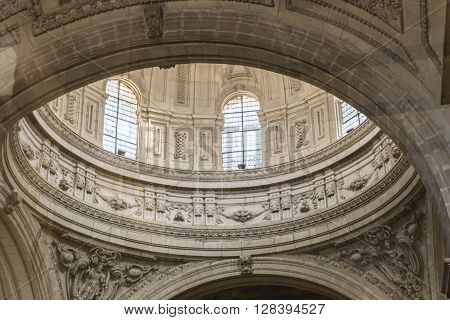 Jaen - Spain, may 2 2016: Inside view of the Cathedral in Jaen, central dome of cruise, work of the architect  Juan de Aranda and Salazar, it has a circumference adorned with twelve meters in the drum and fifty meters high, Jaen, Spain
