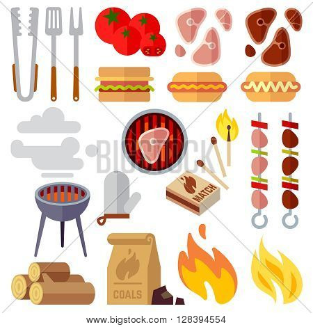 Summer picnic, barbecue and grilled food steak vector icons. Grill barbecue, summer barbecue picnic, barbecue cooking illustration
