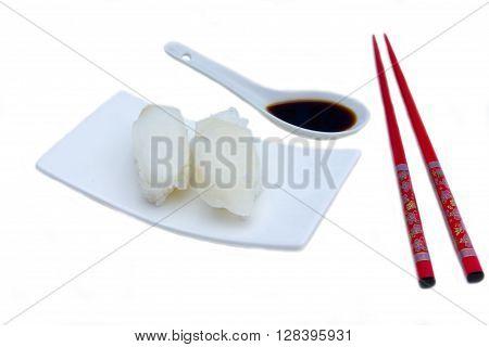 Nigiri with halibut on a white background