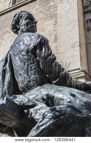 Jaen - Spain, may 2016, 2: Statue sculpted in bronze of the architect Andres de Vandelvira, architect and Spanish Renaissance stonemason. Placed in the rear part of the cathedral of Jaen, take in jaen, Spain