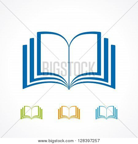 Color book icon vector isolated on white background. Open book icon. Book Icon flat logo
