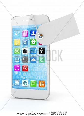 White smart phone with white price tag on white background. Identification, price, label. 3D rendering.