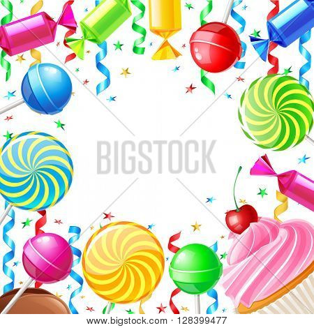 Birthday background with sweets. Vector illustration 10eps