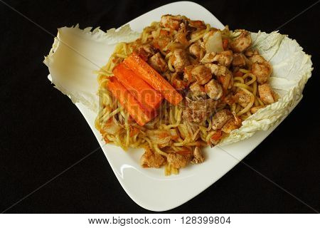 Chinese Noodle Chicken Meat With Vegetables View