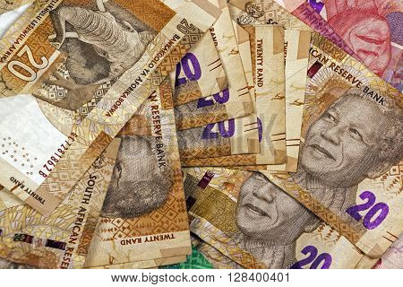 Scattered Twenty Rand South African Bank Notes