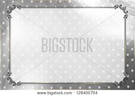 Vintage dotty silver gray frame design concept