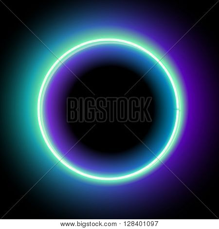 Neon circle. Neon blue light. electric frame. Vintage frame. Retro neon lamp. Space for text. Glowing neon background. Abstract electric background. Neon sign circle. Glowing electric circle.