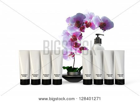 Spa containers and products with orchid on white background