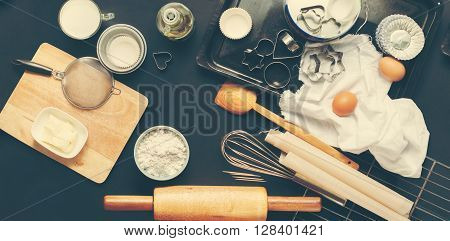 Preparation Baking Accessories Kitchen Composition Black Table Top Wooden Metal Dishes Table Ware Fresh Grocery Different Support Stuff Toned