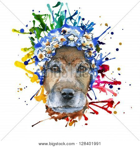 the dog's muzzle in the headdress is made in the form of a wreath of blue flowers. isolated. Watercolor
