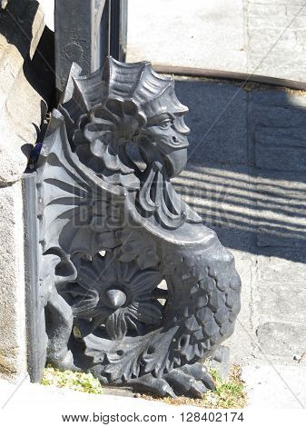 Iron sculpture of a Sea Monster at gate of National Library in Madrid