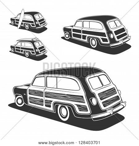 Retro surfboard woodie wagon car isolated on white background. Vector illustration.