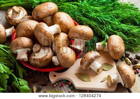 Mushrooms, Dill And Spices On Wooden Table.