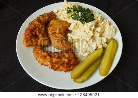 Schnitzel And Egg Salad