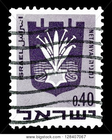 ISRAEL - CIRCA 1959 :  Cancelled postage stamp printed by Israel, that shows Netanya.