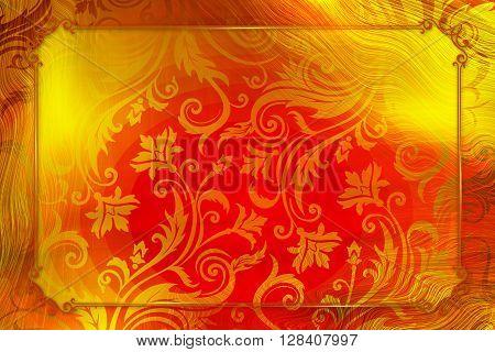 Golden red elegant Vintage frame design concept
