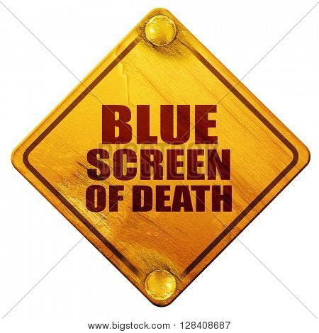 blue screen of death, 3D rendering, isolated grunge yellow road
