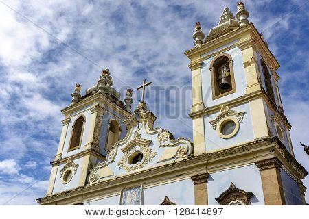 Top of the facade of the Church of Our Lady of the Rosary of the Blacks Liners in the Pelourinho in Salvador. We had the beginning of its construction in 1704 and remains attached a cemetery of slaves.