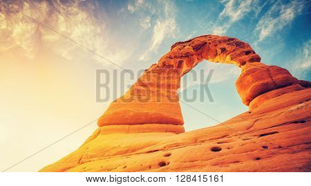 Vintage Toned Delicate Arch At Sunset.