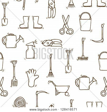 Seamless background cartoon hand drawn garden theme objects. Outdoor concept tools objects: watering can gloves cutter pitchfork shovel boots rake secateurs pushcart bucket hose sprayer