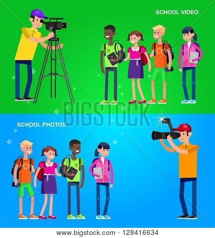 cool detailed character Photographer and videographer with camera photographs people