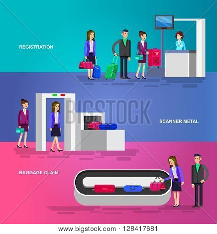 Vector detailed characters people in airport lounge. Woman is registered, checks the metal scanner, people baggage claim.  Web banner template, flat  illustration